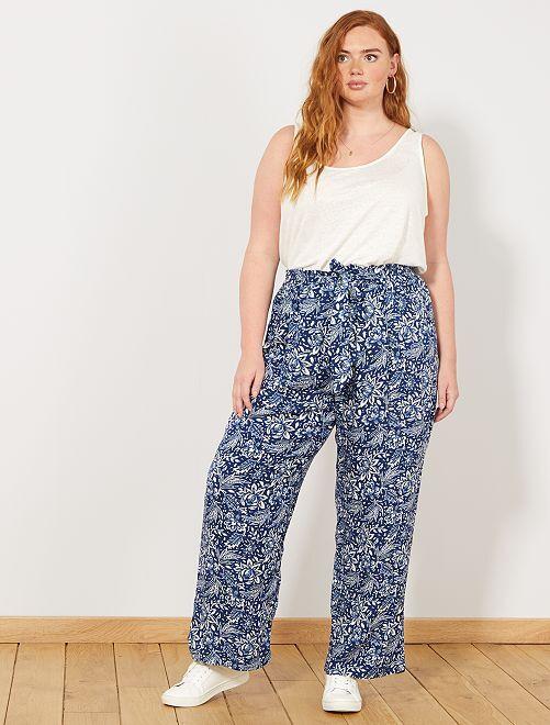 Pantalon large imprimé                             bleu Grande taille femme