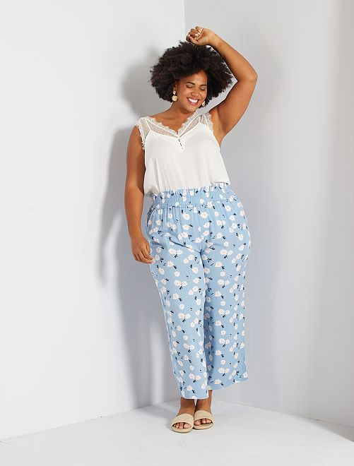 Pantalon large imprimé                                 bleu