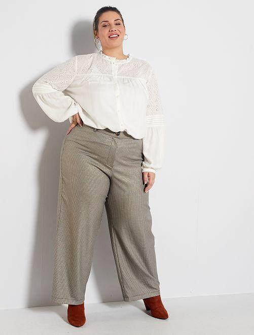 Pantalon large imprimé                             marron carreaux