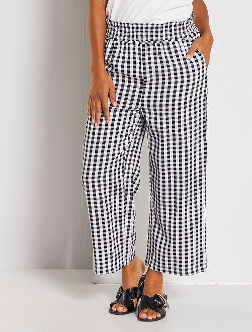 Pantalon large imprimé                                                                 noir vichy