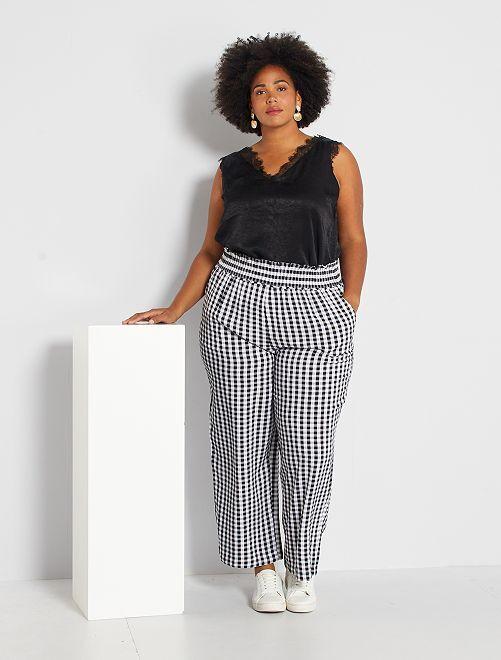 Pantalon large imprimé                                         vichy