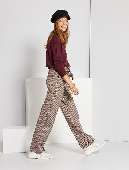 Pantalon large pied de puce                             marron carreaux