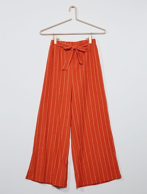 Pantalon large rayé                                         orange