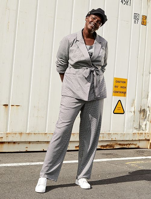 Pantalon large style blazer                             pied de poule
