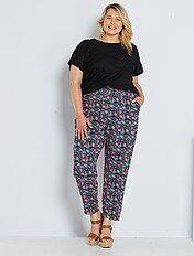 pantalon large taille élastique kiabi