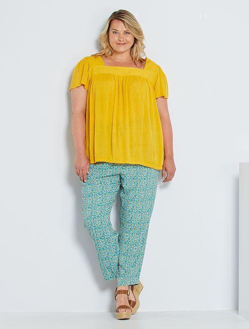 Pantalon large taille élastique                                                     vert