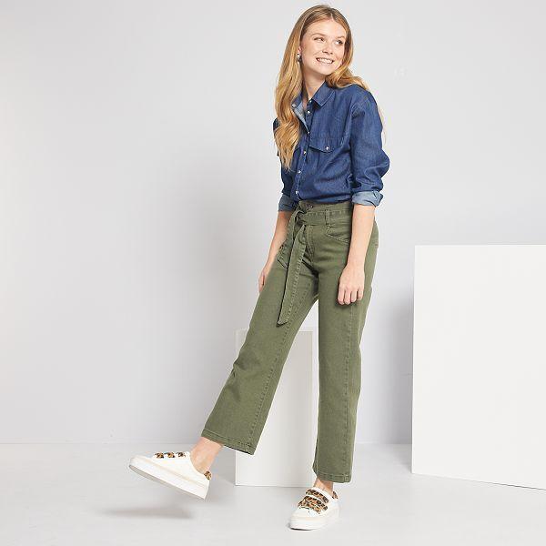 pantalon femme kaki taille haute