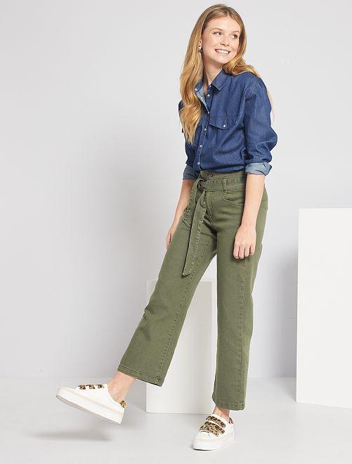 Pantalon large taille haute                                                                 kaki