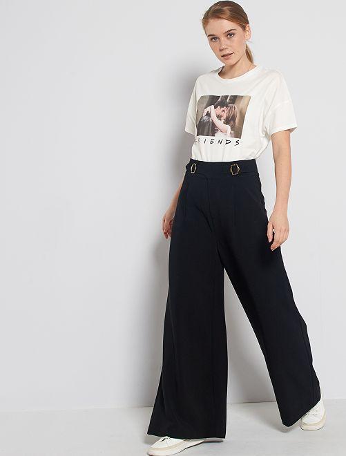 Pantalon large taille haute                                                     noir