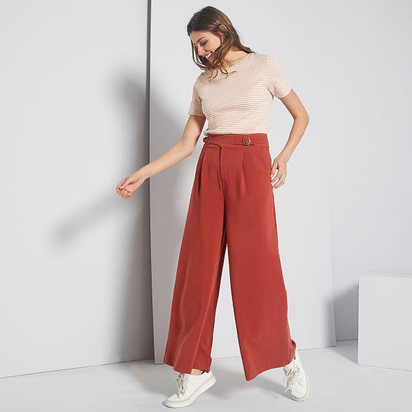 pantalon noir large femme kiabi
