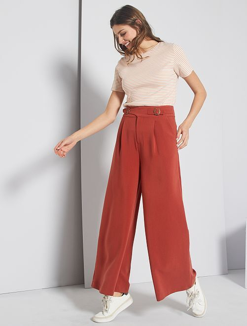 Pantalon large taille haute                     orange rouille