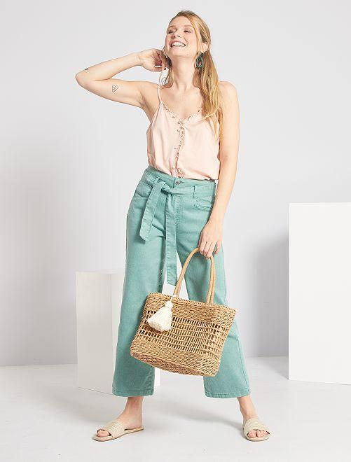 Pantalon large taille haute                                                                 vert amande