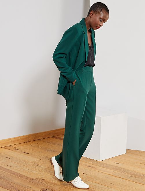 Pantalon large taille haute                                                     vert forêt Femme