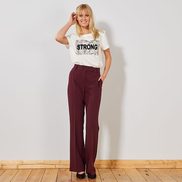 pantalon femme taille haute large