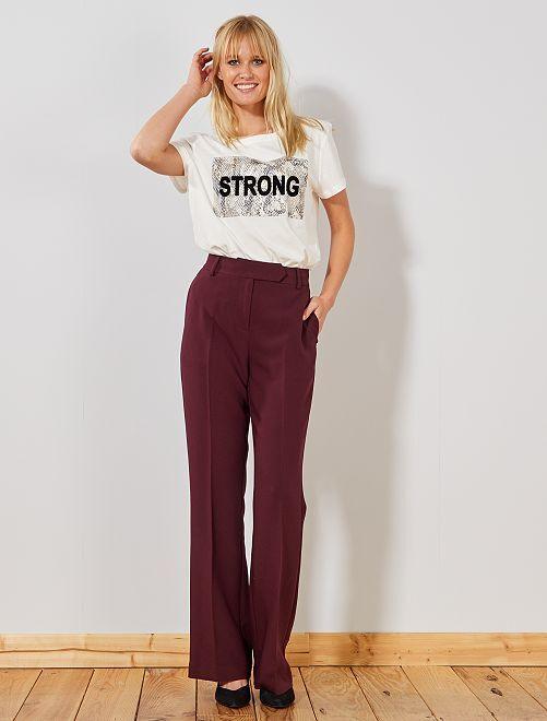 Pantalon large taille haute                                                     violet prune Femme
