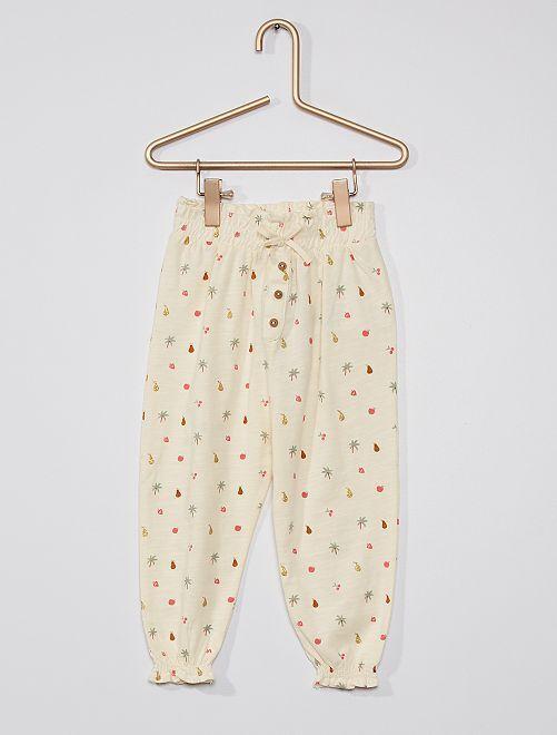 Pantalon léger à motifs                                                                 écru fruits
