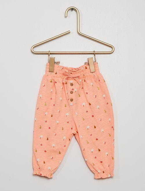 Pantalon léger à motifs                                                                 rose