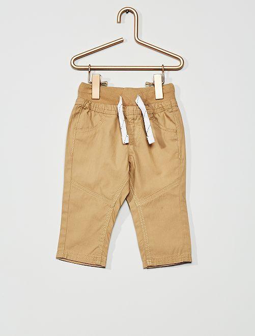Pantalon léger en popeline                                                         beige