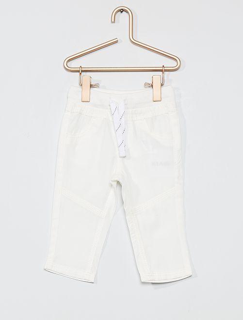 Pantalon léger en popeline                                                                                         blanc
