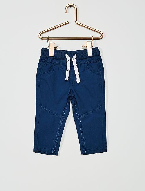 Pantalon léger en popeline                                                         bleu foncé