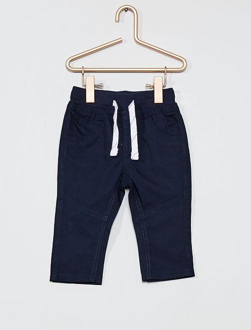 Pantalon léger en popeline                                             bleu marine