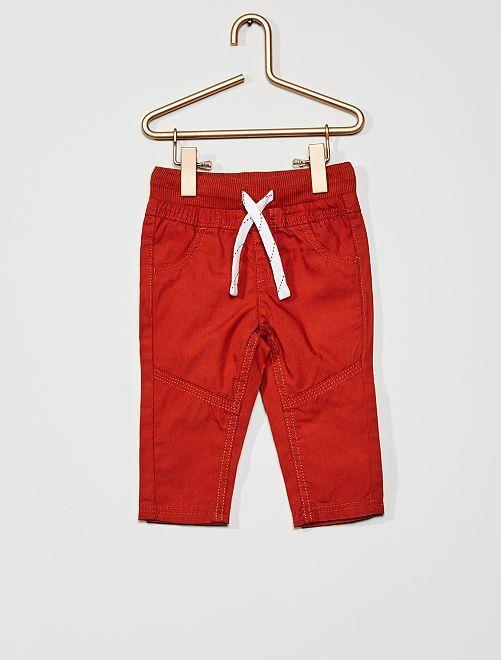 Pantalon léger en popeline                                                                                         ocre