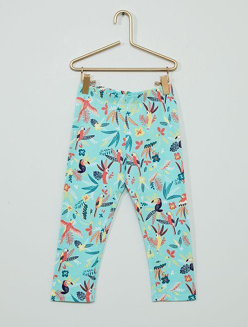 Pantalon legging court majoritairement en coton                                                                                         bleu