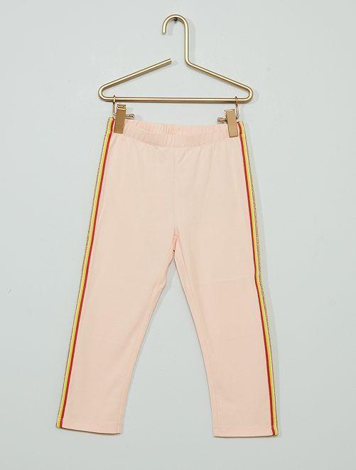 Pantalon legging court majoritairement en coton                                                                                         rose