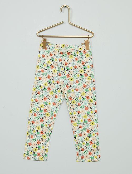 Pantalon legging court majoritairement en coton                                                                                         vert/bleu/jaune