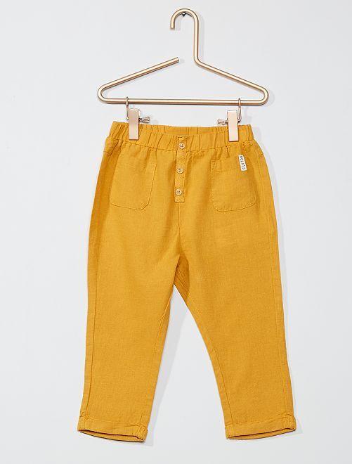 Pantalon lin et coton                     jaune
