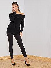 Pantalon maille milano avec fermeture zip
