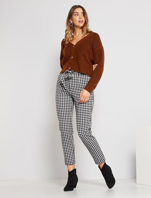 Pantalon maille milano slim                                         noir/blanc