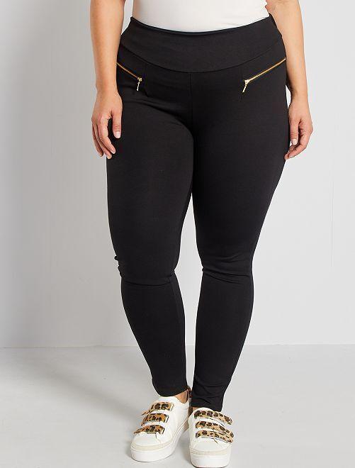 Pantalon maille milano zips fantaisie                             noir
