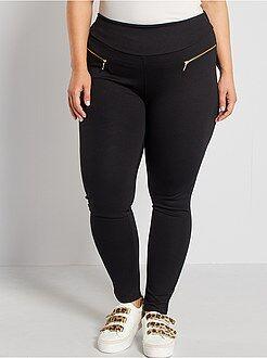 Grande taille femme Pantalon maille milano zips fantaisie