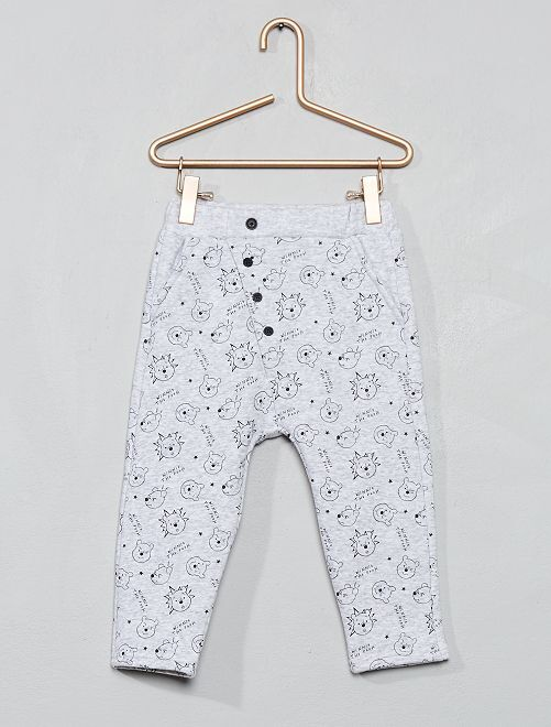 Pantalon molleton fourré 'Disney'                                         gris clair chiné