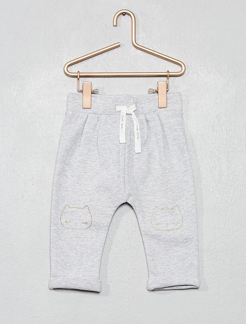 Pantalon molleton imprimé                                                                 gris chat