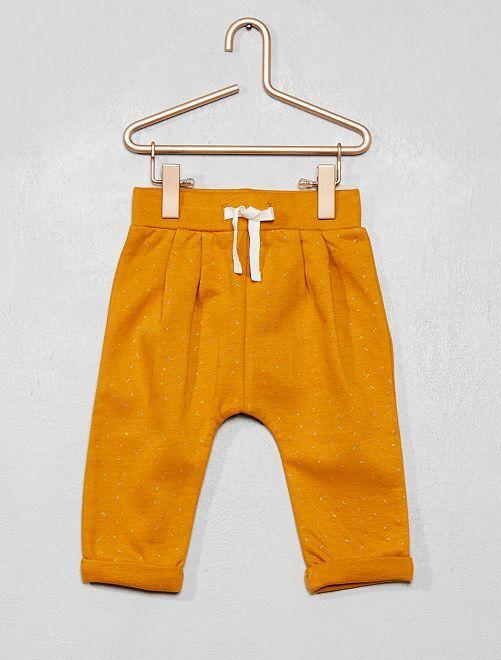 Pantalon molleton imprimé                                                         jaune moutarde