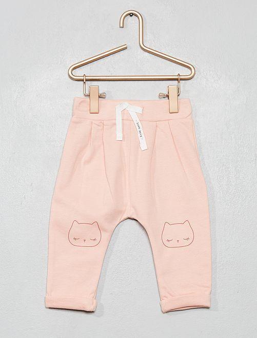 Pantalon molleton imprimé                                                                 rose chat