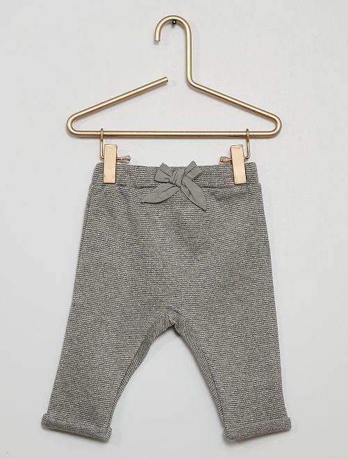 Pantalon molleton                                                                                         rayé gris