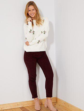 Pantalon mom en velours côtelé