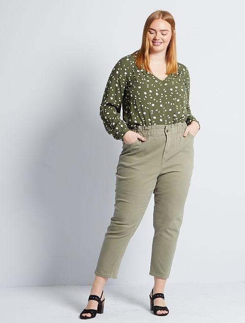 Pantalon mom taille haute                                         kaki