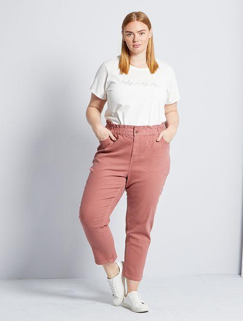Pantalon mom taille haute                                         rose