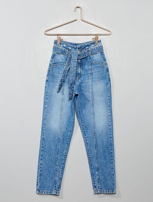 Pantalon paper bag en denim                             bleu