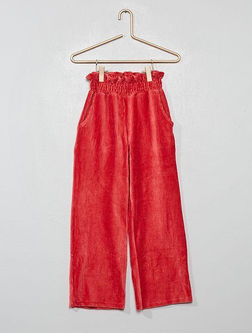 Pantalon 'paper bag' en maille velours côtelée                                                                 ROSE