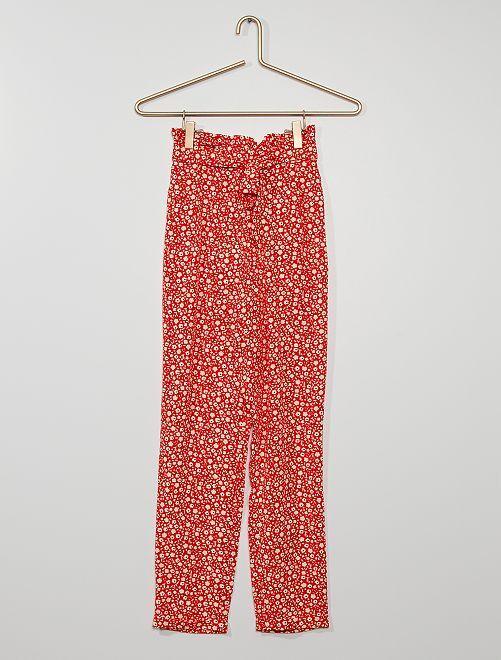 Pantalon paper bag fluide                                         rouge