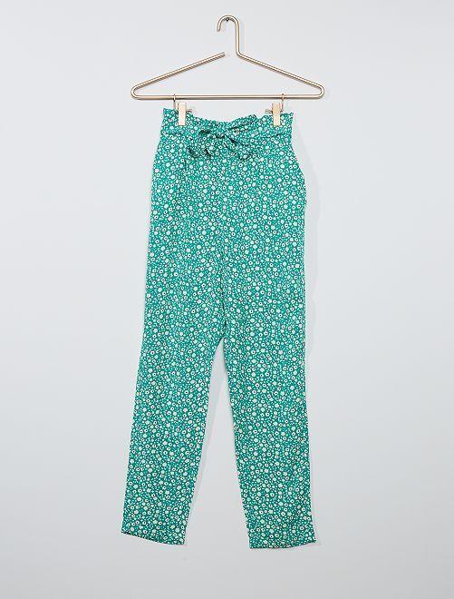 Pantalon paper bag fluide                                                     vert