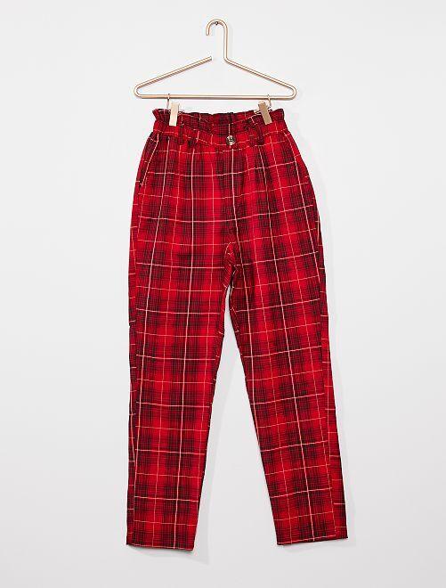 Pantalon paper bag                                                                             rouge carreaux