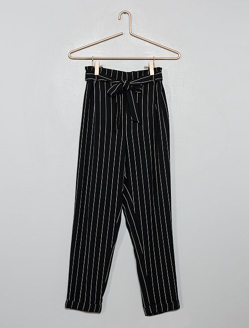 Pantalon paperbag avec revers                             noir