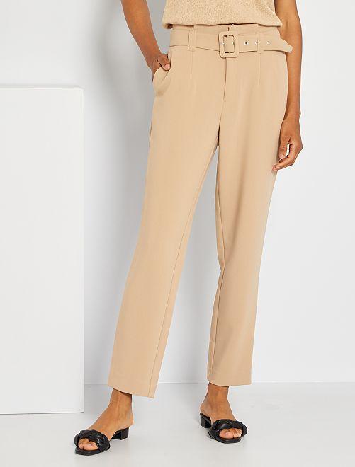 Pantalon paperbag                                         beige clair
