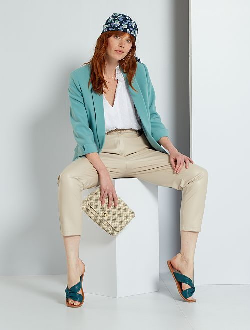 Pantalon paperbag en simili                             beige